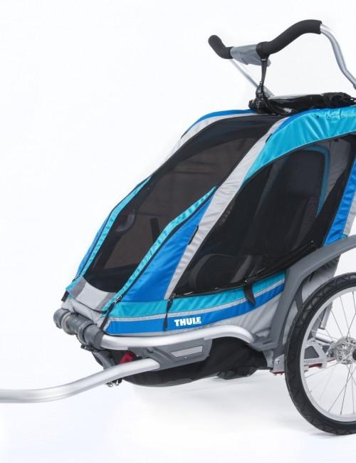 podwójny wózek/przyczepka rowerowa dla dziecka - niebieska