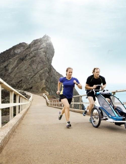 podwójna przyczepka rowerowa dla dziecka - niebieska