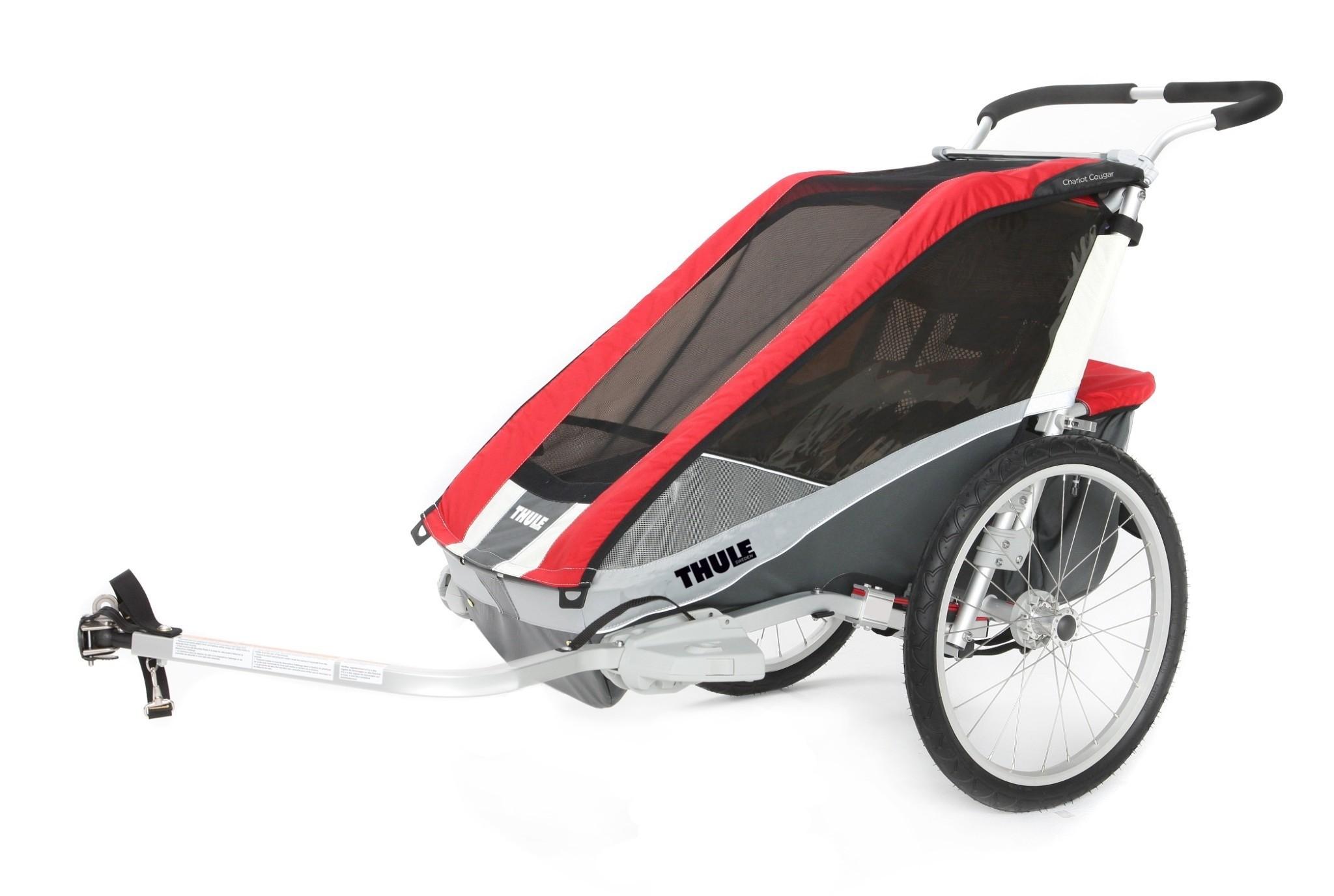THULE Chariot Cougar 1, przyczepka rowerowa dla dziecka - czerwona - SKLEP I WYPOŻYCZALNIA ACTIF