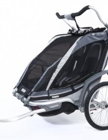 podwójny wózek/przyczepka rowerowa dla dziecka - czarna